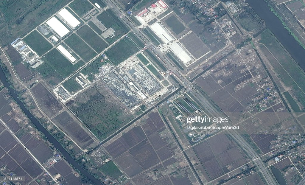 DigitalGlobe imagery of the Canadian's Solar cell factory in Yancheng, China after getting hit by a powerful tornado. Photo DigitalGlobe via Getty Images.