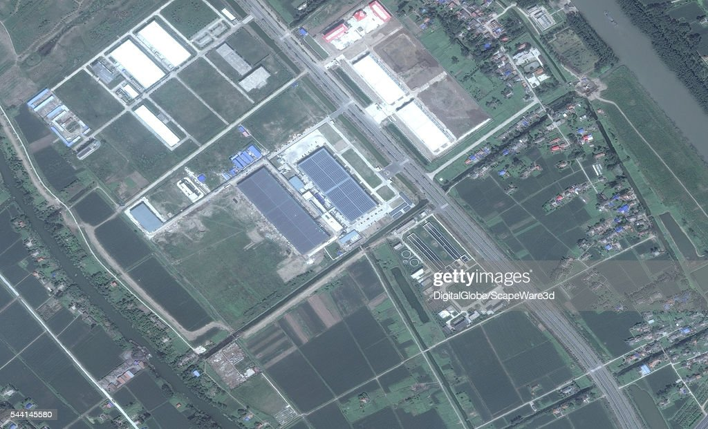 DigitalGlobe imagery of the Canadian's Solar cell factory in Yancheng, China before getting hit by a powerful tornado. Photo DigitalGlobe via Getty Images.