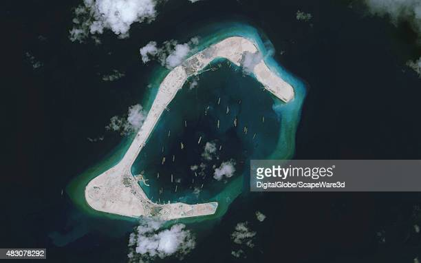 DigitalGlobe imagery of the Subi Reef in the South China Sea a part of the Spratly Islands group Image progression of 3 Photo DigitalGlobe via Getty...