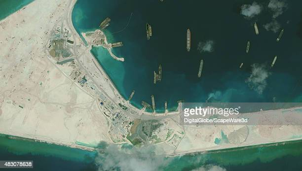 DigitalGlobe imagery of the Subi Reef in the South China Sea a part of the Spratly Islands group Close up image 1 of 2 Photo DigitalGlobe via Getty...