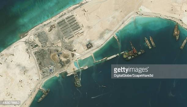 DigitalGlobe imagery of the Subi Reef in the South China Sea a part of the Spratly Islands group Close up image 2 of 2 Photo DigitalGlobe via Getty...