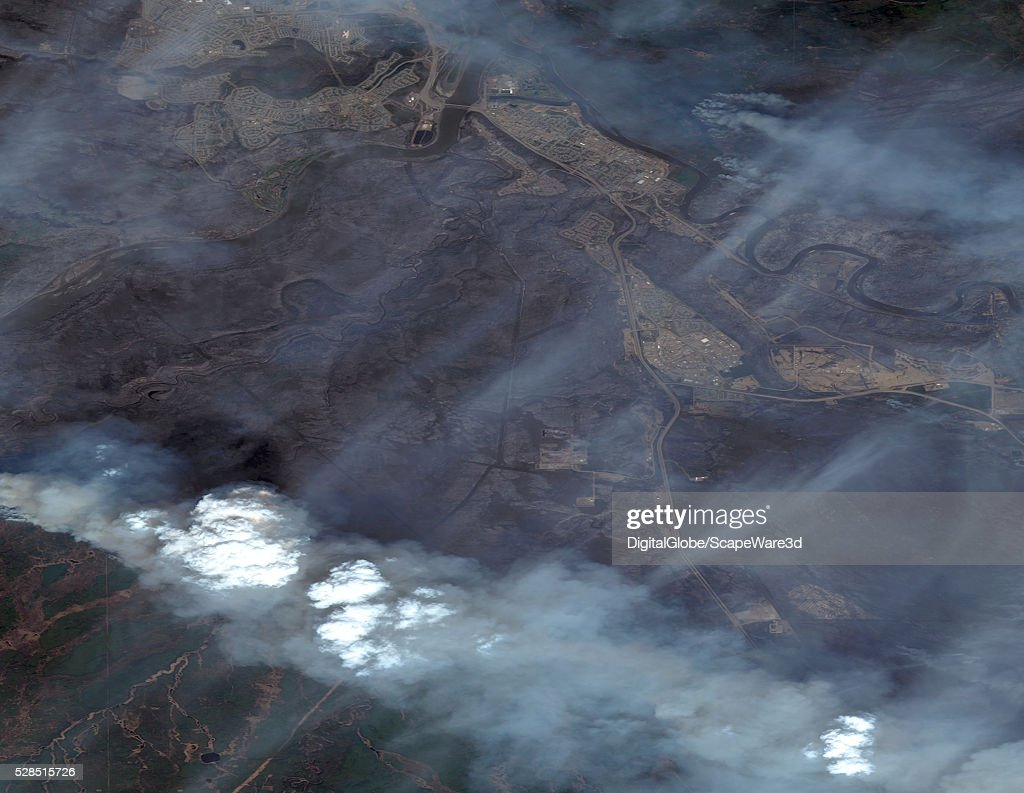 DigitalGlobe overview image (#2) of Fort MacMurray in Alberta, Canada following the devestating wildfire that destroyed the town. Image was taken on May 5th, 2016.