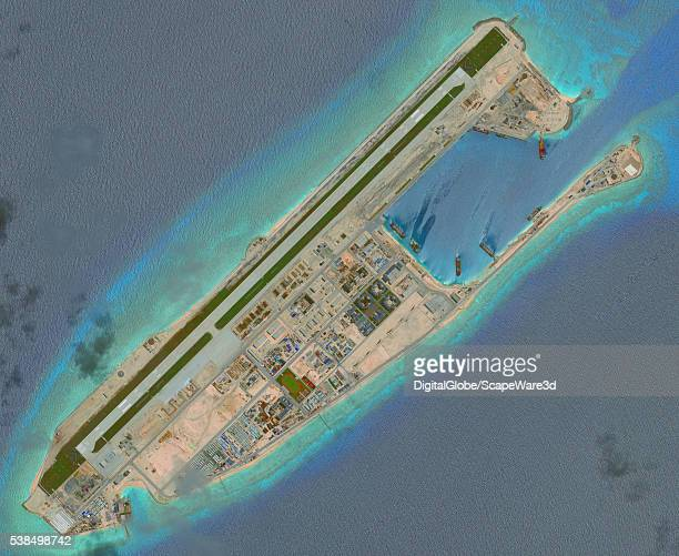 DigitalGlobe overview imagery of the Fiery Cross Reef located in the South China Sea Fiery Cross is located in the western part of the Spratly...