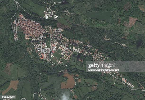 AMATRICE ITALY MAY 21 2016 DigitalGlobe overview satellite image of the village of AmatriceBEFORE the earthquake hit on August 24th 2016