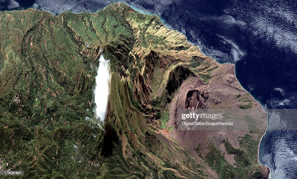 DigitalGlobe Satellite captures this unique image perspective of the Iliwerung Volcano in Indonesia following recent reports of new volcanic activity.