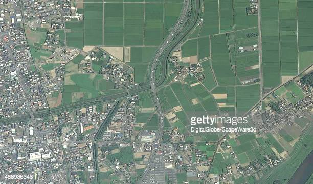 FLOODING JOSO JAPAN SEPTEMBER 11 2015 DigitalGlobe satellite imagery before the massive flooding in and around the city of Joso Japan The image was...