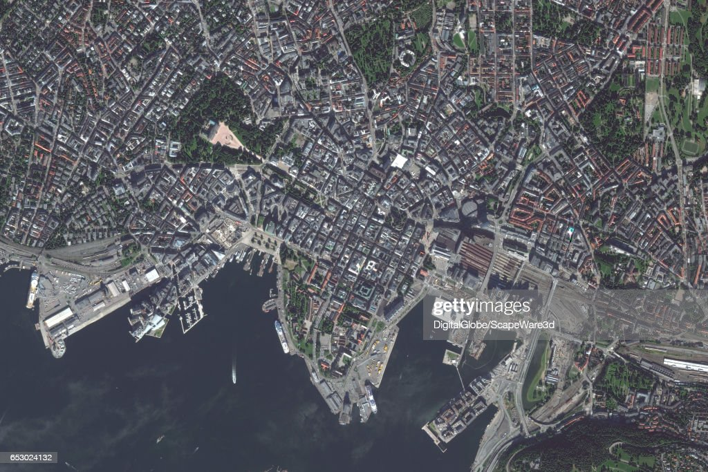 DigitalGlobe satellite imagery of Oslo, Norway. Photo DigitalGlobe via Getty Images.