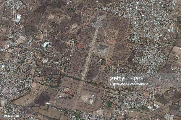 DigitalGlobe satellite imagery of the Avenue of the Dead at Teotihuacan Photo DigitalGlobe via Getty Images