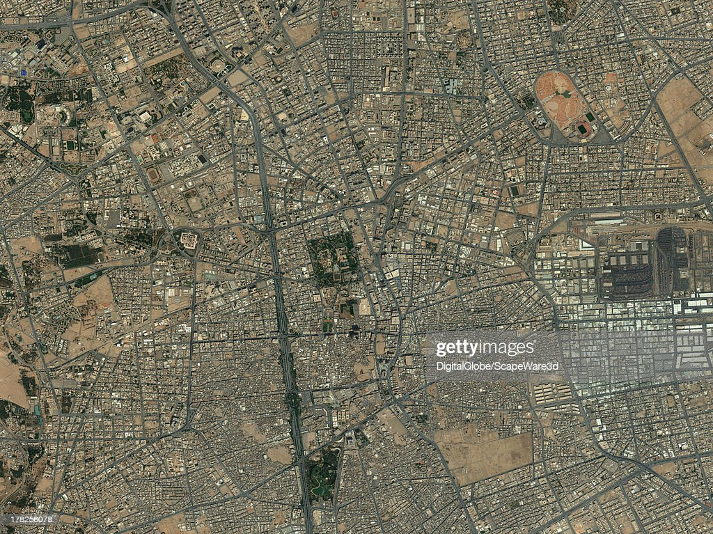 DigitalGlobe Satellite Imagery of the city core of Riyahd, Saudi Arabia.