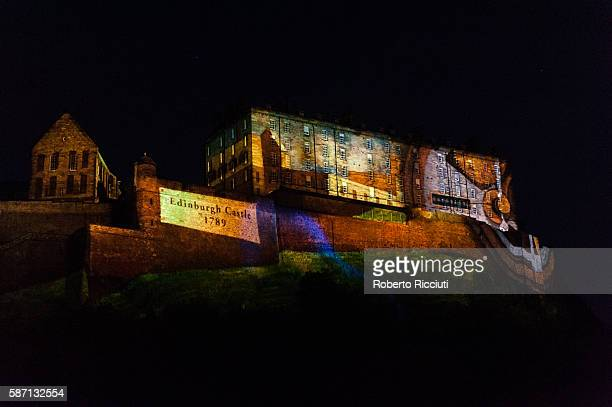 Digitally animated projections take place over the western facade of Edinburgh Castle and Castle Rock during 'Standard Life Opening Event Deep Time'...