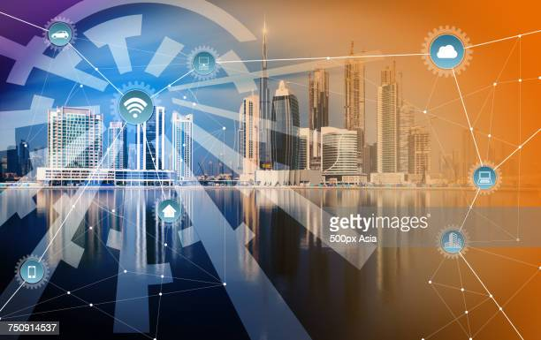 'Digitally generated infographic against city background, Dubai'