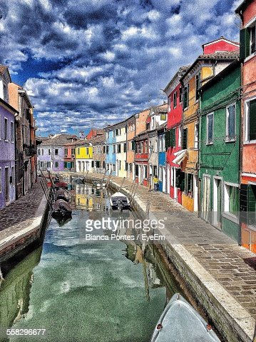 Digitally Manipulated Image Of Old Town Street With Canal