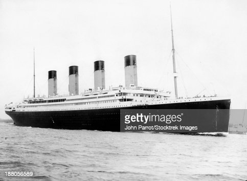 Digitally restored vintage maritime history photo of the RMS Titantic departing Southampton on April 10, 1912.