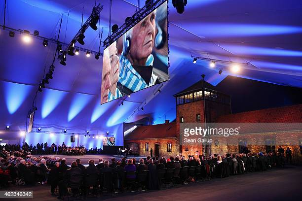 Dignataries and survivors gather for the commemoration of the 70th anniversary of the liberation of Auschwitz concentration camp on January 27 2015...