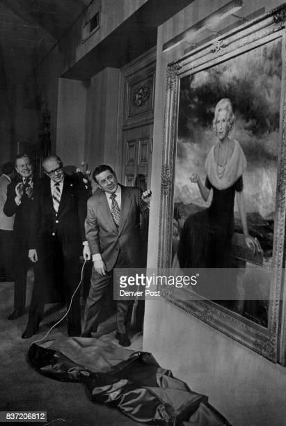 Dignitaries Admire Portrait Of Late Helen G Bonfils Gov John Vanderhoof and Mayor Bill McNichols center admire a portrait of the late Miss Helen G...