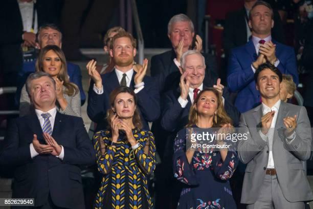Dignitaries applaud competitors during the opening ceremonies of the Invictus Games in Toronto Ontario September 23 2017 Ukrainian President Petro...