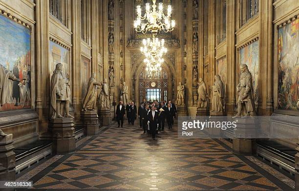 Dignitaries attend a memorial service for Sir Winston Churchill in Westminster Hall on January 30 2015 in London England The service marks a day of...