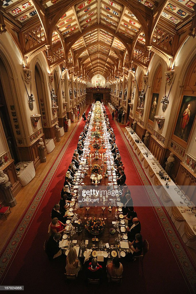 Dignitaries attend a State Banquet for His Highness the Amir Sheikh Sabah Al-Ahmad Al-Jaber Al-Sabah of Kuwait in Windsor Castle on November 27, 2012 in Windsor, England. The Amir of Kuwait is conducting three-day state visit to the UK; tomorrow he will meet with British Prime Minister David Cameron in Downing Street and attend a Banquet at the Guildhall.