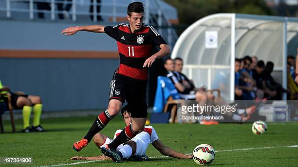 Dijon Ramaj of Germany battles for the ball during the U18 four nations friendly tournament match between Turkey and Germany at Emirhan Sport Complex...