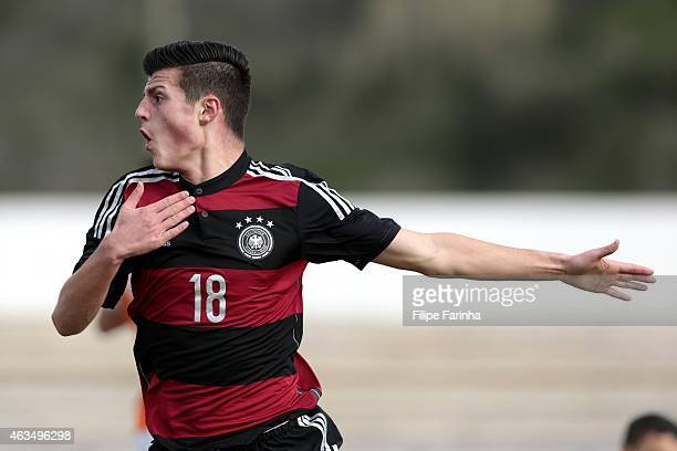 Dijon Ramaj of Germany celebrates his goal during the U17 Algarve Cup match between Netherlands and Germany at Municipal Stadium on February 15 2015...