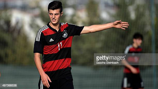Dijon Ramaj of Germany gestures during the U18 four nations friendly tournament match between Turkey and Germany at Emirhan Sport Complex on November...