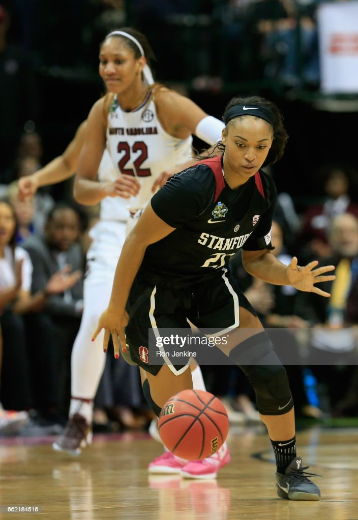 Dijonai Carrington #21 of the Stanford Cardinal drives against the South Carolina Gamecocks in the second half during the semifinal round of the 2017 NCAA Women's Final Four at American Airlines Center on March 31, 2017 in Dallas, Texas. The South Carolina Gamecocks won 62-53.