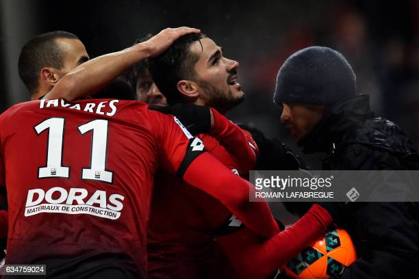 Dijon's Algerian midfielder Mehdi Abeid celebrates after scoring a goal during the French L1 football match between Dijon and Caen at the...