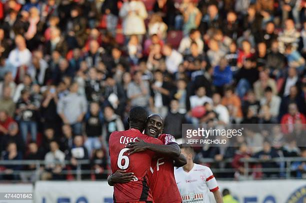 Dijon's Cape Verdean forward Julio Tavares celebrates after scoring a goal during the French L2 football match Dijon vs Nancy on May 22 at the Gaston...