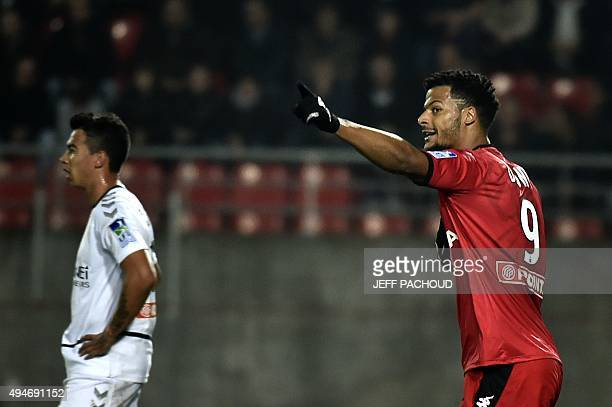Dijon's French forward Lois Diony celebrates after scoring a goal during the French Ligue Cup round of 32 football match Dijon vs Reims on October 28...