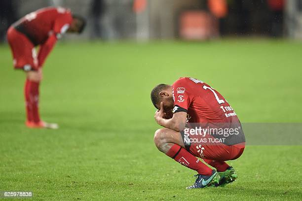 Dijon's FrenchAlgerian midfielder Mehdi Abeid reacts at the end of the French L1 football match between Bordeaux and Dijon at the Matmut Atlantique...