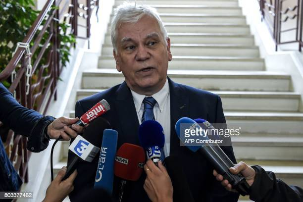 Dijon's general prosecutor JeanJacques Bosc answers journalists' questions outside the courthouse of Dijon on June 29 where Murielle Bolle is being...