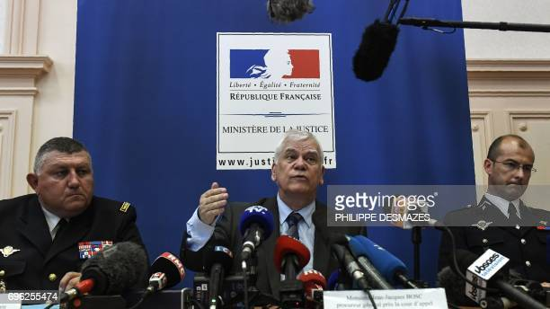Dijon's general prosecutor JeanJacques Bosc gives a press conference next to General gendarme Olivier Kim and Colonel Dominique Lambert in Dijon on...