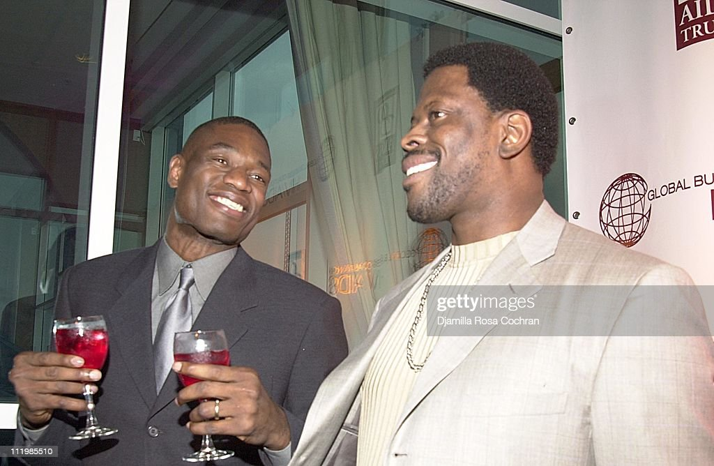 Dikembe Mutombo and Patrick Ewing during 2002 Awards For Business Excellence at Chelsea Piers in New York City New York United States