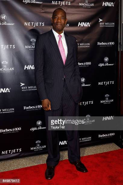 Dikembe Mutombo attends the Forbes Media Centennial Celebration at Pier 60 on September 19 2017 in New York City