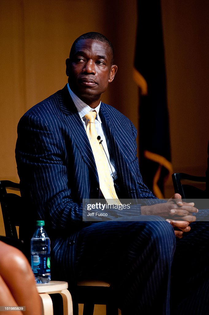 Dikembe Mutombo takes part in a panel discussion prior to the 2012 Liberty Medal Ceremony at the National Constitution Center on September 13, 2012 in Philadelphia, Pennsylvania.