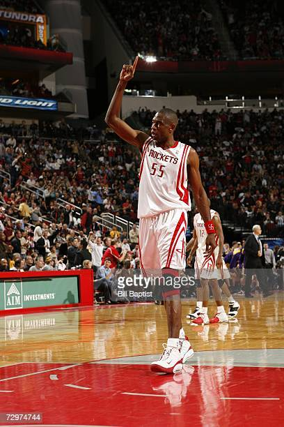 Dikembe Mutumbo of the Houston Rockets becomes second in the NBA with the most blocked shots at 3190 on January 10 2007 at the Toyota Center in...