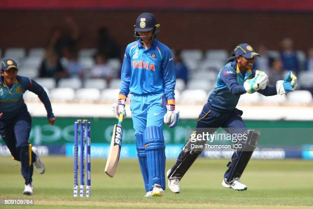Dilani Manodara of Sri Lanka celebrates after Shashikala Siriwardena of Sri Lanka took the catch to dismiss Smriti Mandhana of India during the ICC...