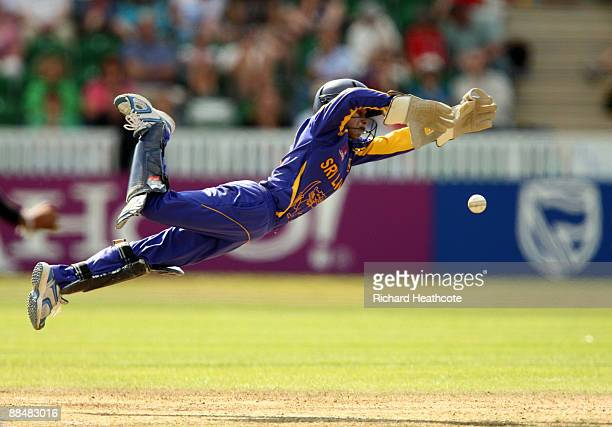 Dilani Manodara of Sri Lanka dives to stop the ball during the ICC Women's Twenty20 World Cup match between England and Sri Lanka at The County...