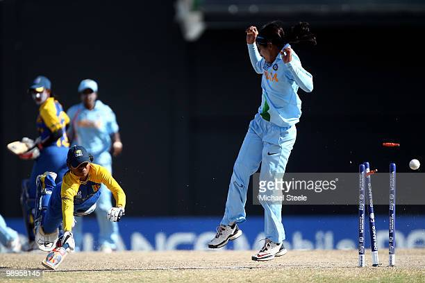 Dilani Manodara of Sri Lanka is run out during the ICC T20 Women's World Cup Group B match between India and Sri Lanka at Warner Park on May 10 2010...