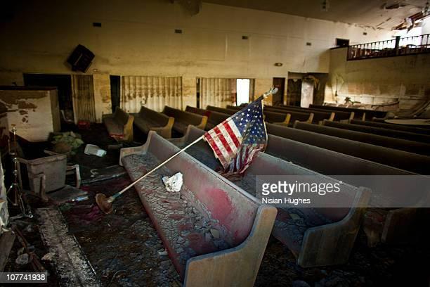 dilapidated church American flag