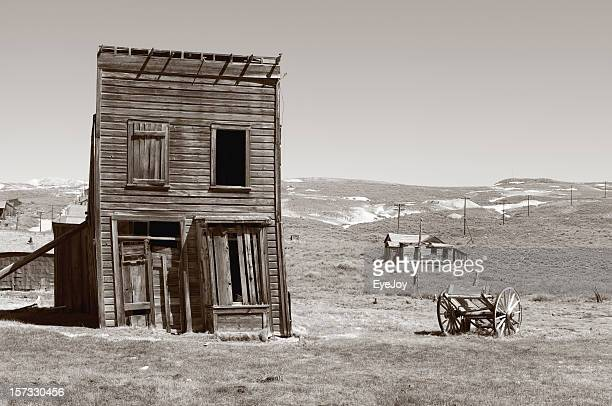 A dilapidated house in an old ghost town
