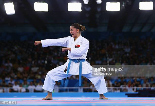 Dilara Bozan of Turkey competes in the Women's Karate Kata semi finals during day two of the Baku 2015 European Games at Crystal Hall on June 14 2015...