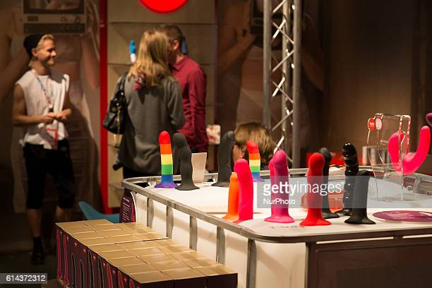 A dildo stand is pictured at the 20th Venus Erotic Fair in Berlin Germany on October 13 2016