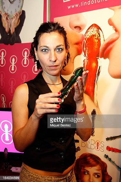 Dildos made in Murano's glass are displayed at the Barcelona erotic Fair on October 12 2012 in Barcelona Spain