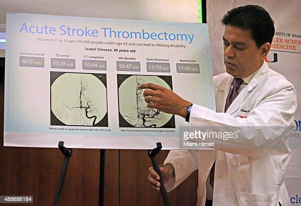 Dileep R Yavagal MD Chief of UHealth Interventional Neurology shows before and after photos of 26 yearold stroke victim Isabel Vinueza's brain on...