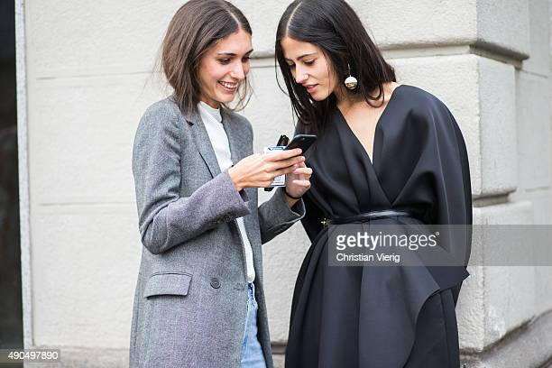 Diletta Bonaiuti and Gilda Ambrosio during Milan Fashion Week Spring/Summer 16 on September 27 2015 in Milan Italy