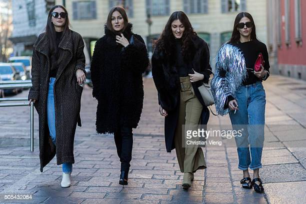 Diletta Bonaiuti Giorgia Tordini Giulia Tordini Gilda Ambrosio outside Missoni during Milan Men's Fashion Week Fall/Winter 2016/17 on January 17 in...