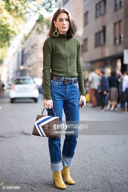 Diletta Bonaiuti poses after the Marni show during Milan Fashion Week Spring/Summer 2017 on September 25 2016 in Milan Italy