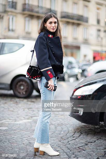 Diletta Bonaiuti poses before the Isabel Marant show at Place Colette during Paris Fashion Week FW 16/17 on March 4 2016 in Paris France