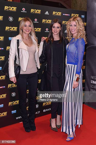Diletta Leotta Federica Lodi and Marina Graziani attends a photocall for Race on March 22 2016 in Milan Italy